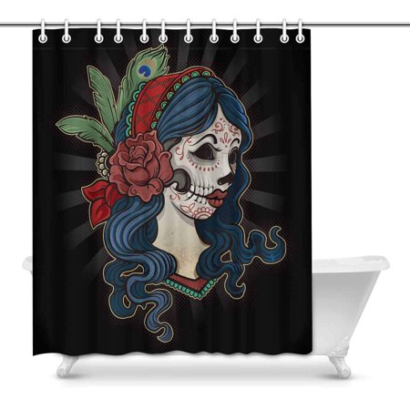 MKHERT Halloween Dead Girl with Flower Home Decor Waterproof Polyester Fabric Shower Curtain Bathroom Sets 60x72 inch](Halloween Bathroom Decor Ideas)