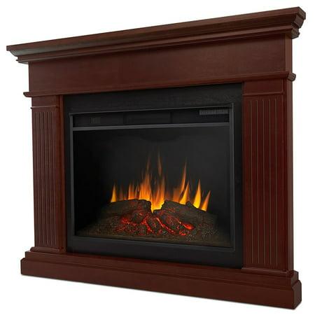 Kennedy Grand Corner Fireplace in Dark Walnut by Real (Real Flame Churchill Electric Corner Fireplace In Oak)
