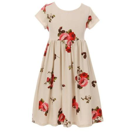 Big Girls Elegant Short Sleeve Floral Summer Wedding Birthday Party Flower Girl Dress Ivory 8 (K64K23N)](Elegant Flower Girl Dress)