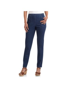 98c44e70 Product Image Women's Flat Front Back Elastic Stretch Denim Pants