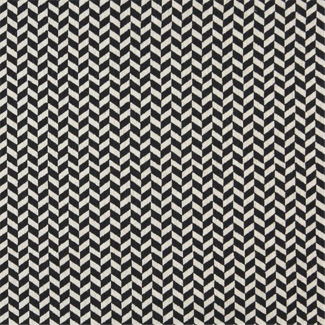 Designer Fabrics K0004G 54 in. Wide Midnight And Off White, Herringbone Slanted Check Designer Quality Upholstery Fabric