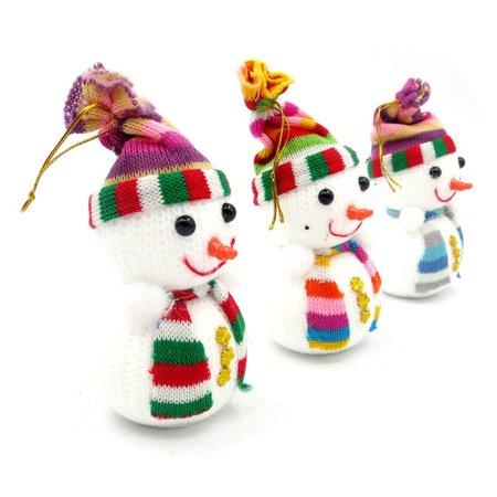 3pcs Christmas Snowman Ornaments Party Xmas Tree Hanging Decoration