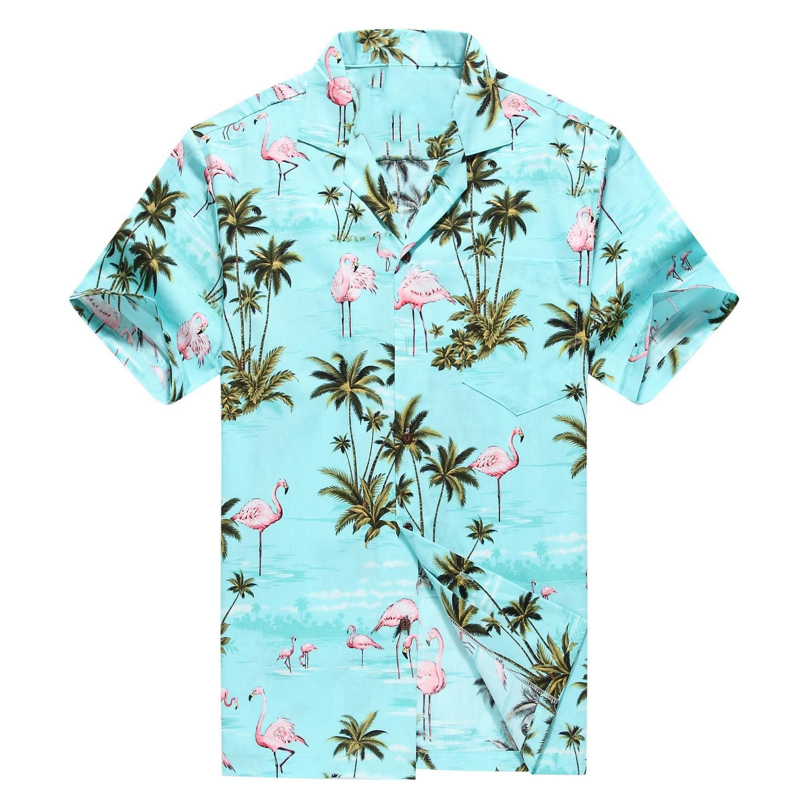 939212e689d Hawaii Hangover - Made in Hawaii Men s Hawaiian Shirt Aloha Shirt Pink  Flamingos Allover in Turquoise - Walmart.com
