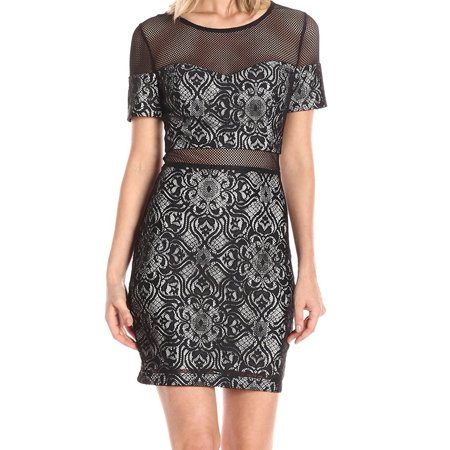 Guess Guess New Black Womens Size 12 Illusion Lace Floral Sheath