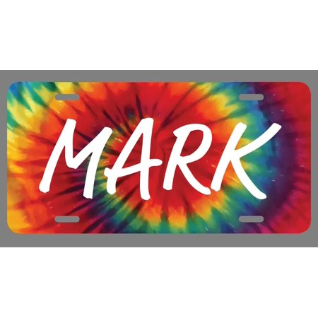 Mark Name Tie Dye Style License Plate Tag Vanity Novelty Metal | UV Printed Metal | 6-Inches By 12-Inches | Car Truck RV Trailer Wall Shop Man Cave | NP1791