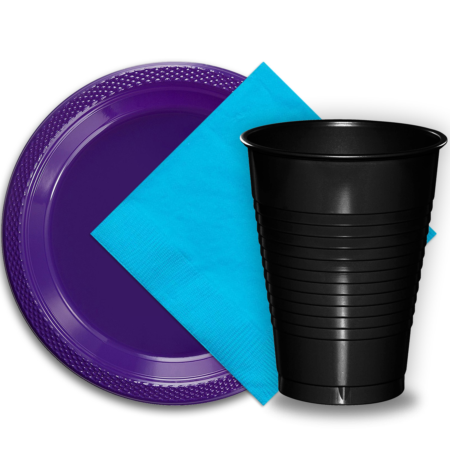 """50 Purple Plastic Plates (9""""), 50 Black Plastic Cups (12 oz.), and 50 Aqua Paper Napkins, Dazzelling Colored Disposable Party Supplies Tableware Set for Fifty Guests."""