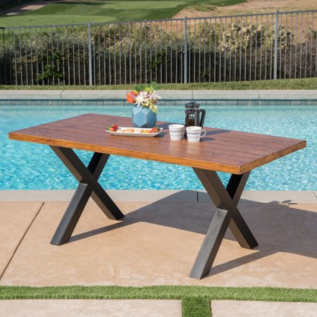 Cytheria Outdoor Light Weight Concrete Dining Table, Brown Walnut Finish