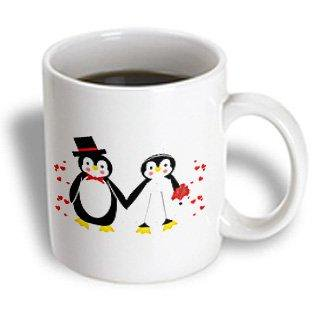 3dRose Cute Red Hearts Penguin Bride and Groom Wedding Couple, Ceramic Mug, - Cute Coiples