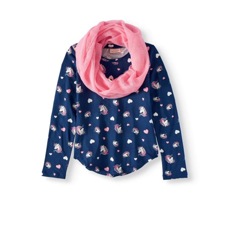 Unicorn and Heart Print Long Sleeve Tee with Scarf (Big Girls)