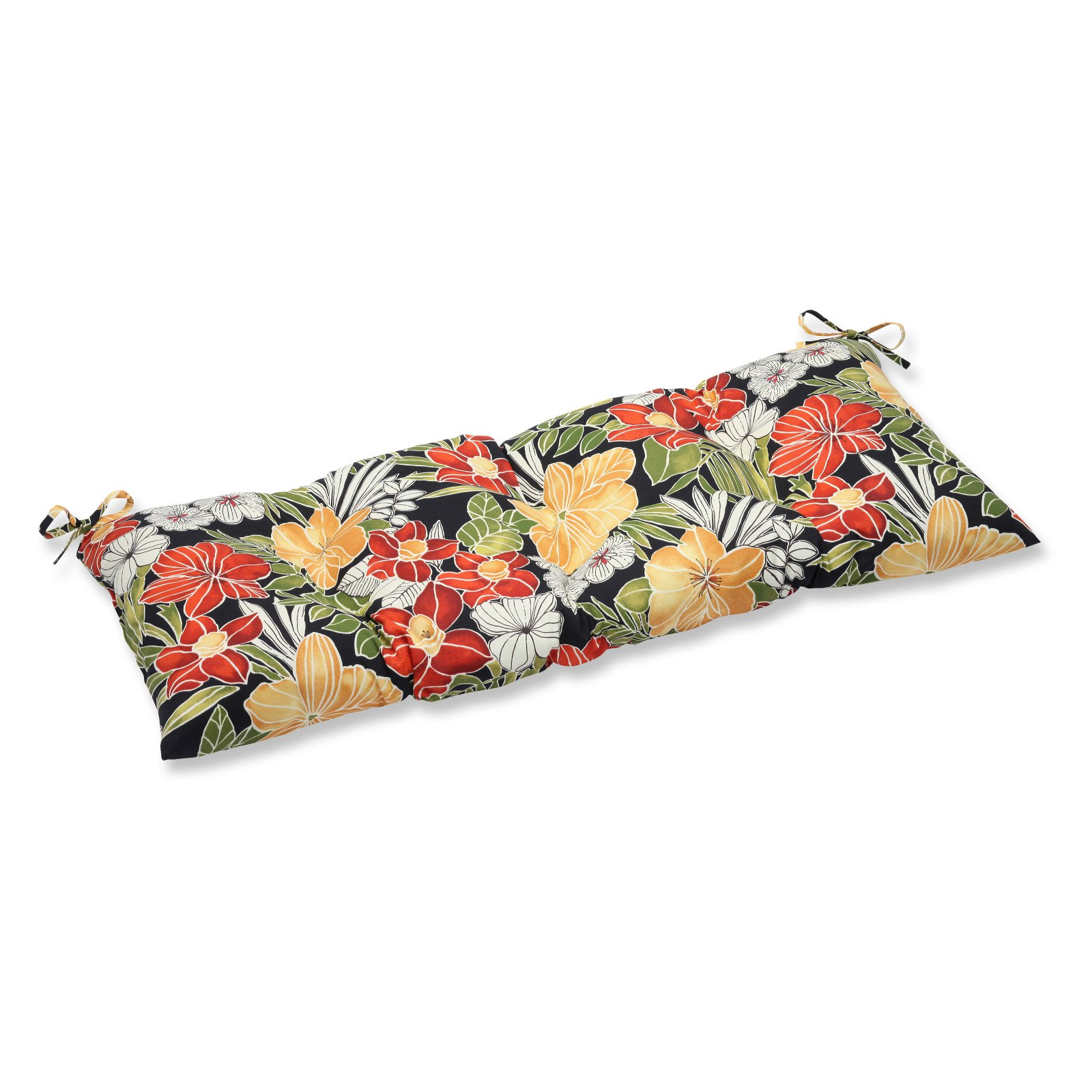 Pillow Perfect Outdoor/ Indoor Clemens Noir Wrought Iron Loveseat Cushion