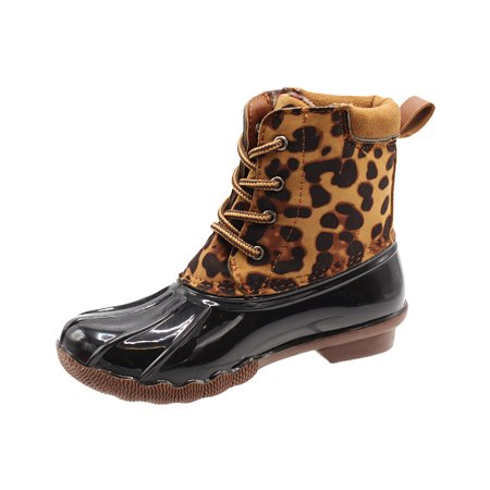 Duck Girls and Boys Lace Up Two Tone Combat Style Calf Rain Duck Boots ()