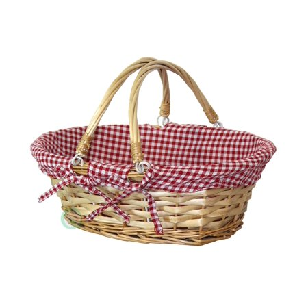 Oval Willow Basket with Double Drop Down Handles Red White Plaid Lining