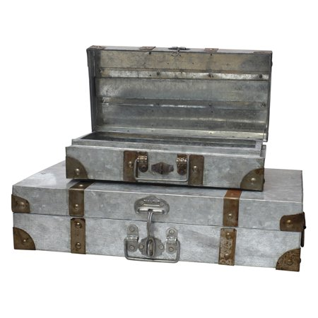 Suitcase Decor (CKK Home Decor Aged Galvanized Suitcase - Set of)
