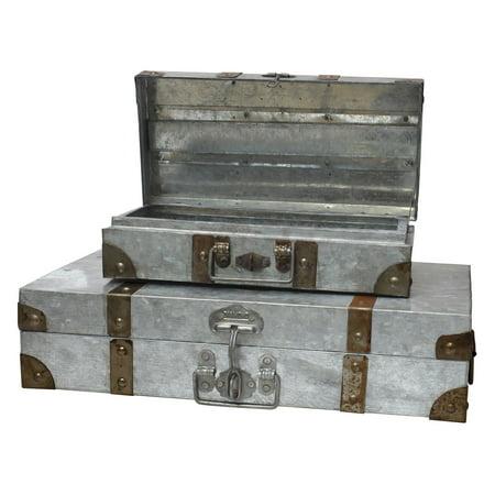 CKK Home Decor Aged Galvanized Suitcase - Set of 2
