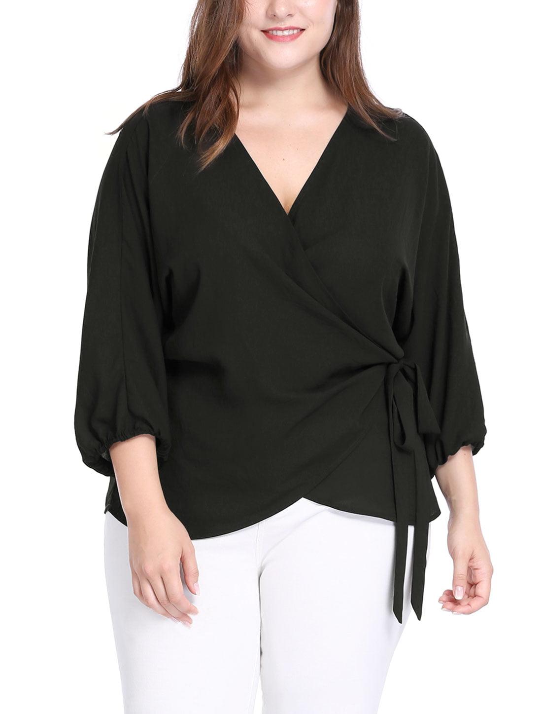 Unique Bargains Women's Plus Size Batwing Sleeves Self Tie Wrap Chiffon Top
