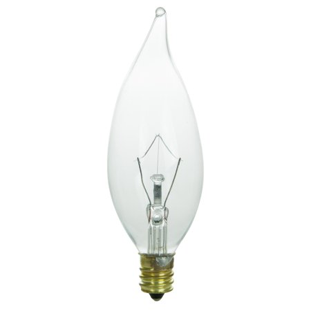 Krypton Candelabra - Sunlite 25 Watt Krypton Flame Tip Chandelier, Candelabra Base, Clear