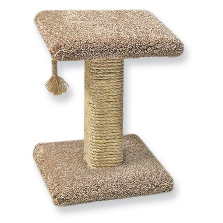 Beatrise Carpet Sisal Cat Scratching Post w/ Square Base, Perch & Hanging Tassel