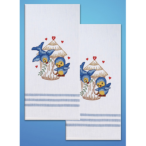 Tobin Bird Stamped Kitchen Towels For Embroidery