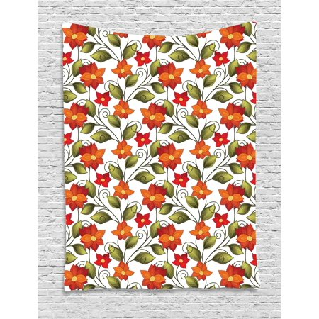 Floral Tapestry, Lily Blooms Nature Herbs Doodle Style Flower and Foliage Arrangement, Wall Hanging for Bedroom Living Room Dorm Decor, Orange Olive Green White, by Ambesonne - Led Lights For Flower Arrangements