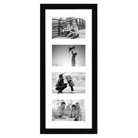 Black Collage Picture Frame with 4 Openings - Made for 4x6 Photos
