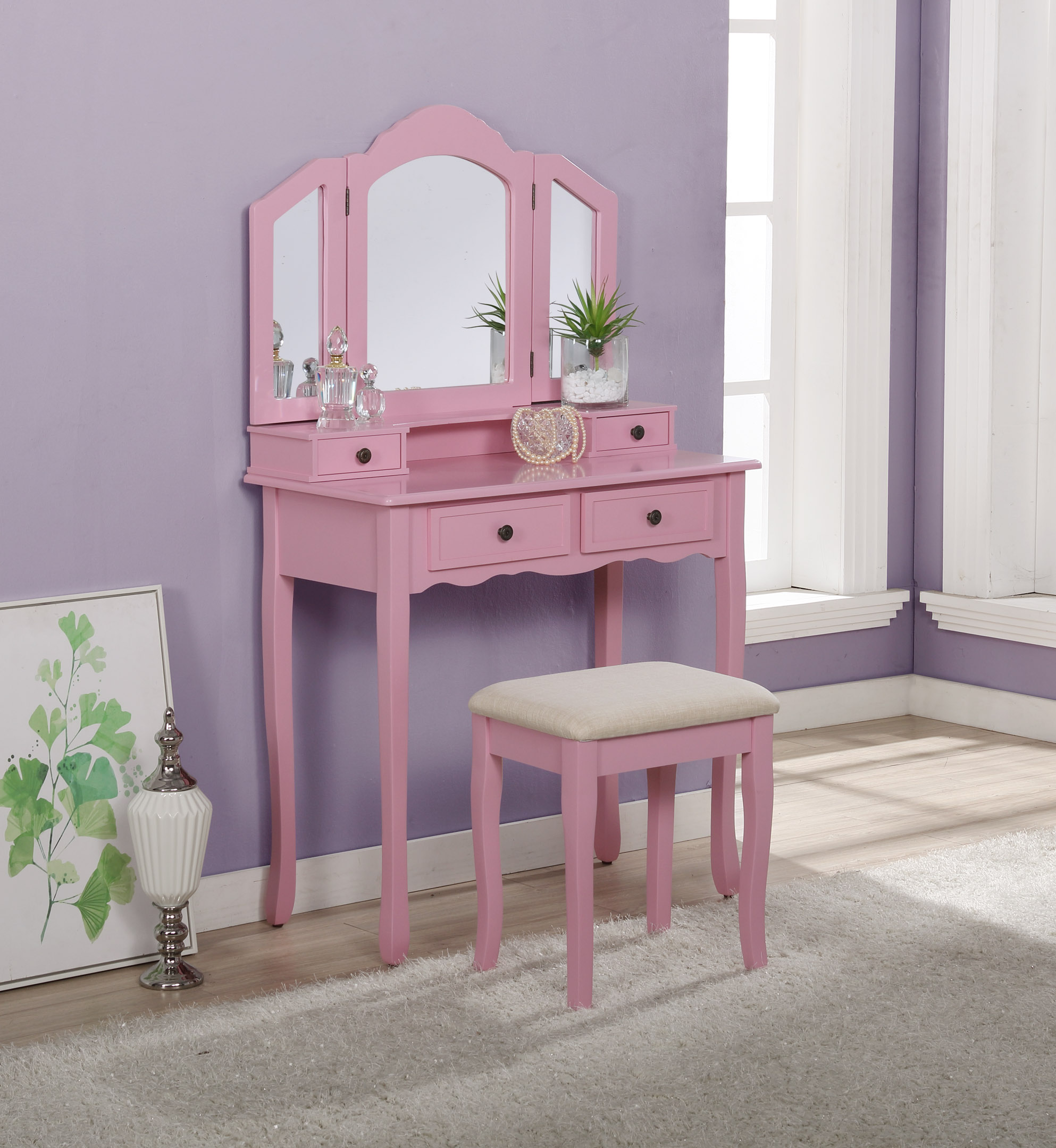 Roundhill Furniture Sanlo Wooden Vanity Make Up Table And Stool Set Pink Walmart Com Walmart Com