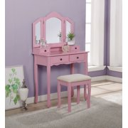 Roundhill Furniture Sanlo Wooden Vanity Make Up Table and Stool Set, Pink