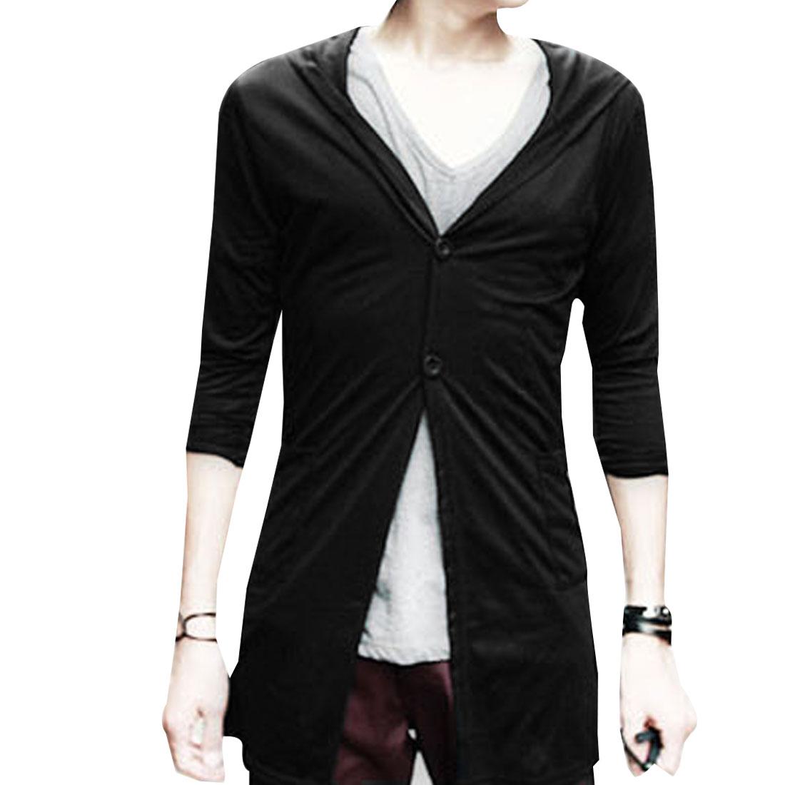 Mens NEW Solid Color Irregular Hem Back Pockets Detail Hoodie Black XS