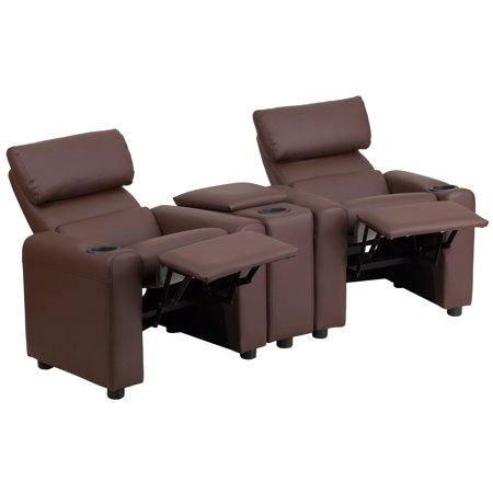 Flash Furniture Kid's Leather Reclining Theater Seating with Storage Console, Multiple Colors - Home Theater Extension Sofa Seat