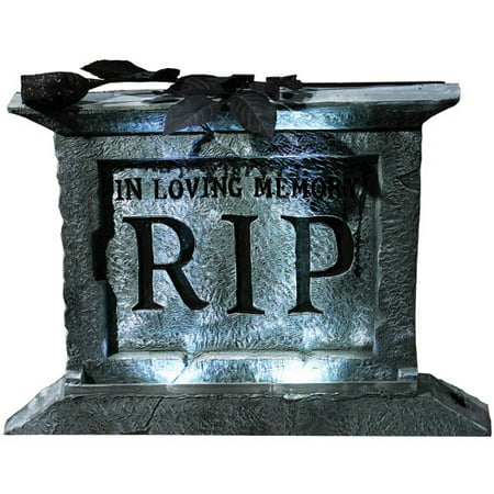 Foam Tombstone Pedestal with Rose Halloween Decoration - Non Foam Halloween Tombstones