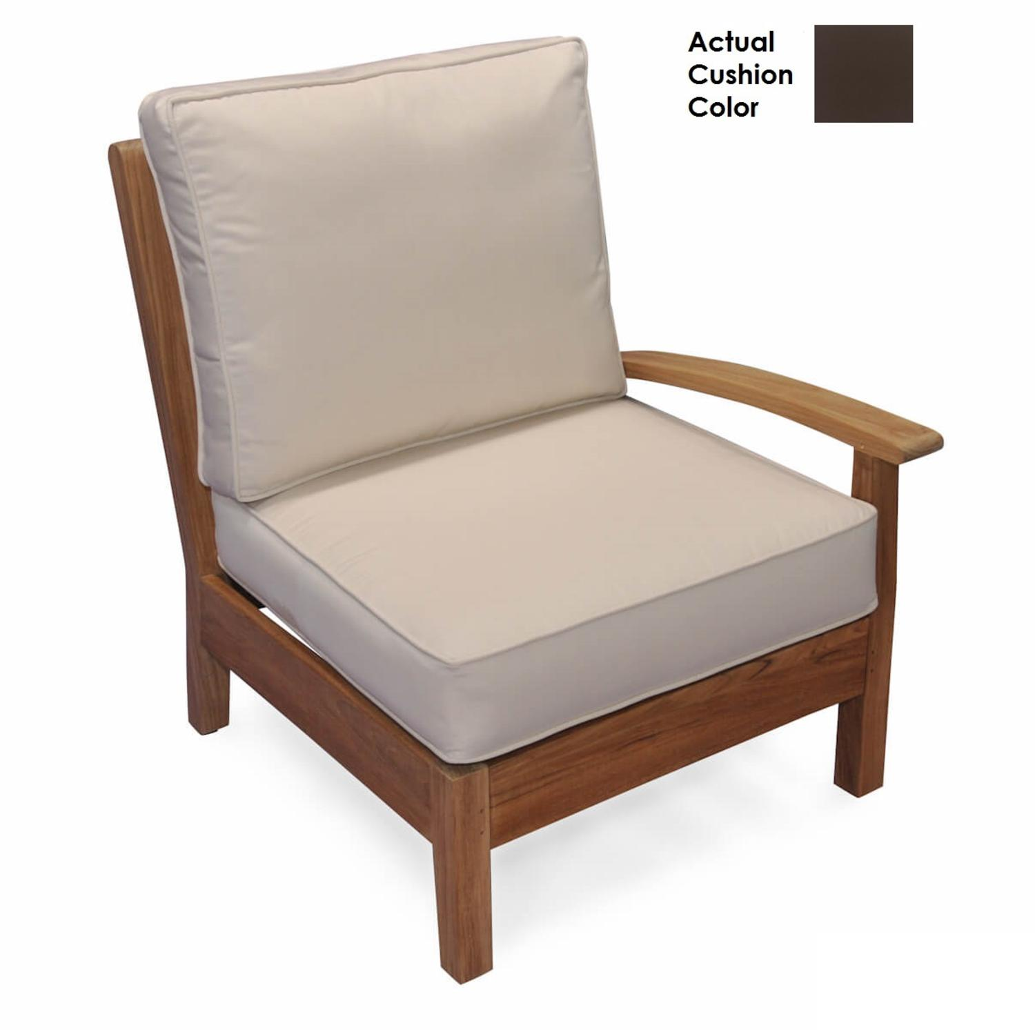 "35"" Natural Teak Sectional Left Arm Outdoor Patio Chair with Walnut Brown Cushions by Eco-Friendly Furnishings"