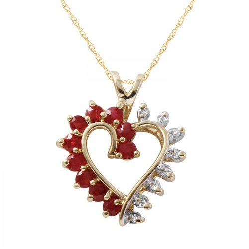 Foreli 0.94CTW Ruby And Diamond 10k Yellow Gold Necklace by Generic