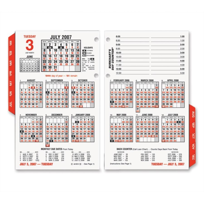 "At-A-Glance Burkhart's Day Counter Daily Calendar Refill - Daily - 4.5"" x 7.37"" - January till December - 8:00 AM to 5:3"
