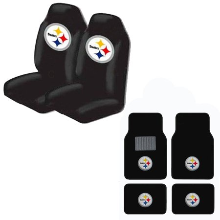 steelers front and rear carpet auto floor liner mats and seat cover set. Black Bedroom Furniture Sets. Home Design Ideas