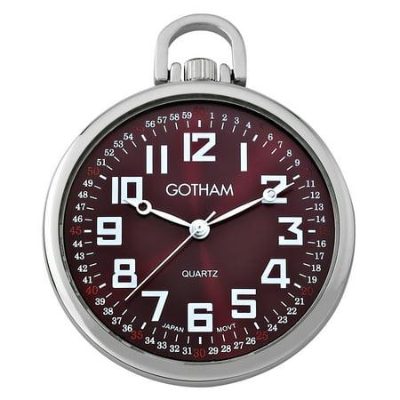 Gotham Men's Railroad Open Face Silver-Tone Analog Quartz Pocket Watch with Chain # GWC15027SM Quartz Silver Tone Pocket Watch
