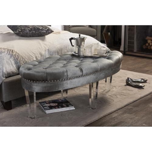 Baxton Studio Edna Contemporary Oval Grey Microsuede Fabric Upholstered Luxe Tufted Ottoman Bench with Acrylic Legs