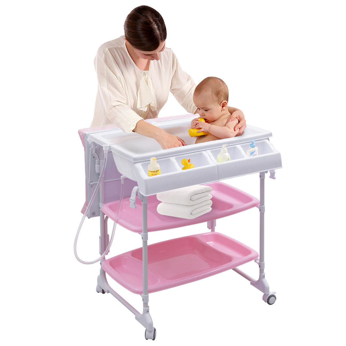 Costway Baby Infant Changing Table Diaper Station Organizer Storage w/ Tube - image 4 de 10