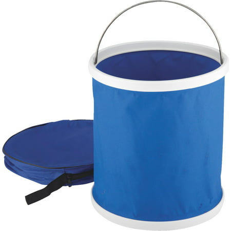 Camco Collapsible Bucket with Storage Case- Durable Pop Up Bucket with Watertight Fabric, Holds 3 Gallons of Water - Great for RVs, Camping, Fishing, Boating, Hiking and More - Blue (42993) - Collapsible Halloween Bucket