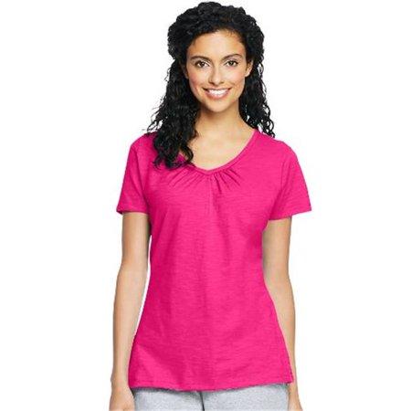 9253 Womens Slub Jersey Shirred V-Neck Tees, Amaranth - Small - image 1 de 1