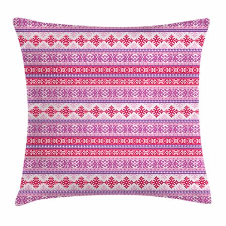 Throw Knitting Pattern (Nordic Throw Pillow Cushion Cover, Geometric Abstract Snowflake Pattern European Ornamental Knitting Design, Decorative Square Accent Pillow Case, 18 X 18 Inches, Lilac Dark Coral White, by)