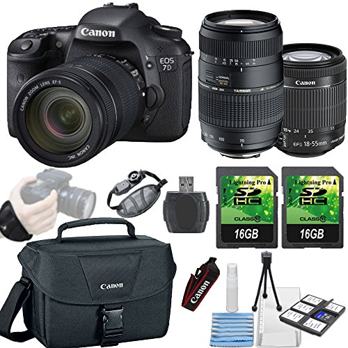 Canon EOS 7D Mark II 20.2MP DSLR Camera + Canon 18-55mm IS STM Lens + Tamron 70-300mm Lens + 2 piece 16GB... by Paging Zone