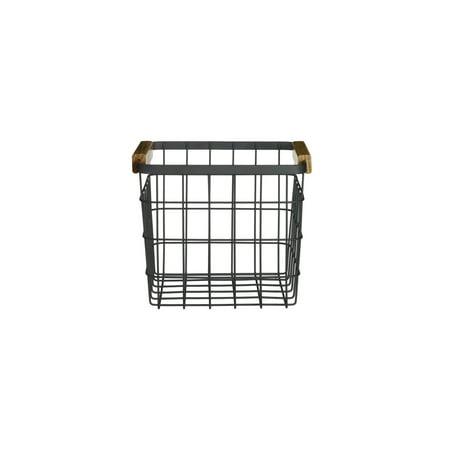 Design Ideas Sutton Basket, Matte Black Industrial Metal Wire Stacking Storage Bin with Natural Wood Handles, 7