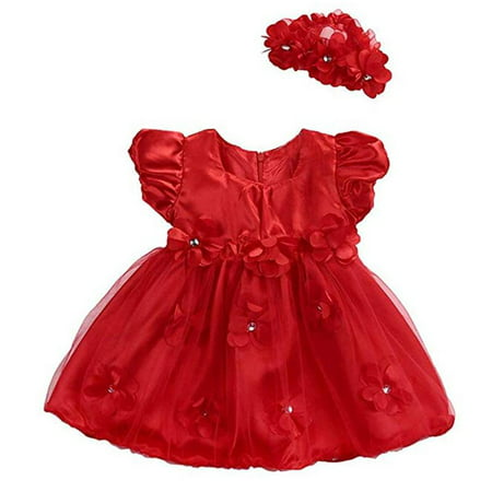 Baby Girls Red Rose Flower Princess Wedding Party Pageant Tulle Tutu Dress - Red Tutu Dress