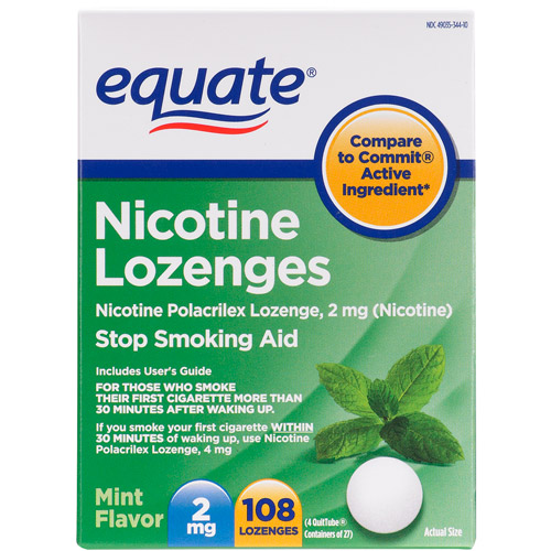 Equate Stop Smoking Aid Nicotine Lozenge 2mg, Mint, 108 Pieces