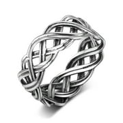 925 Sterling Silver Infinity Intertwined Cross Celtic Knot Ring