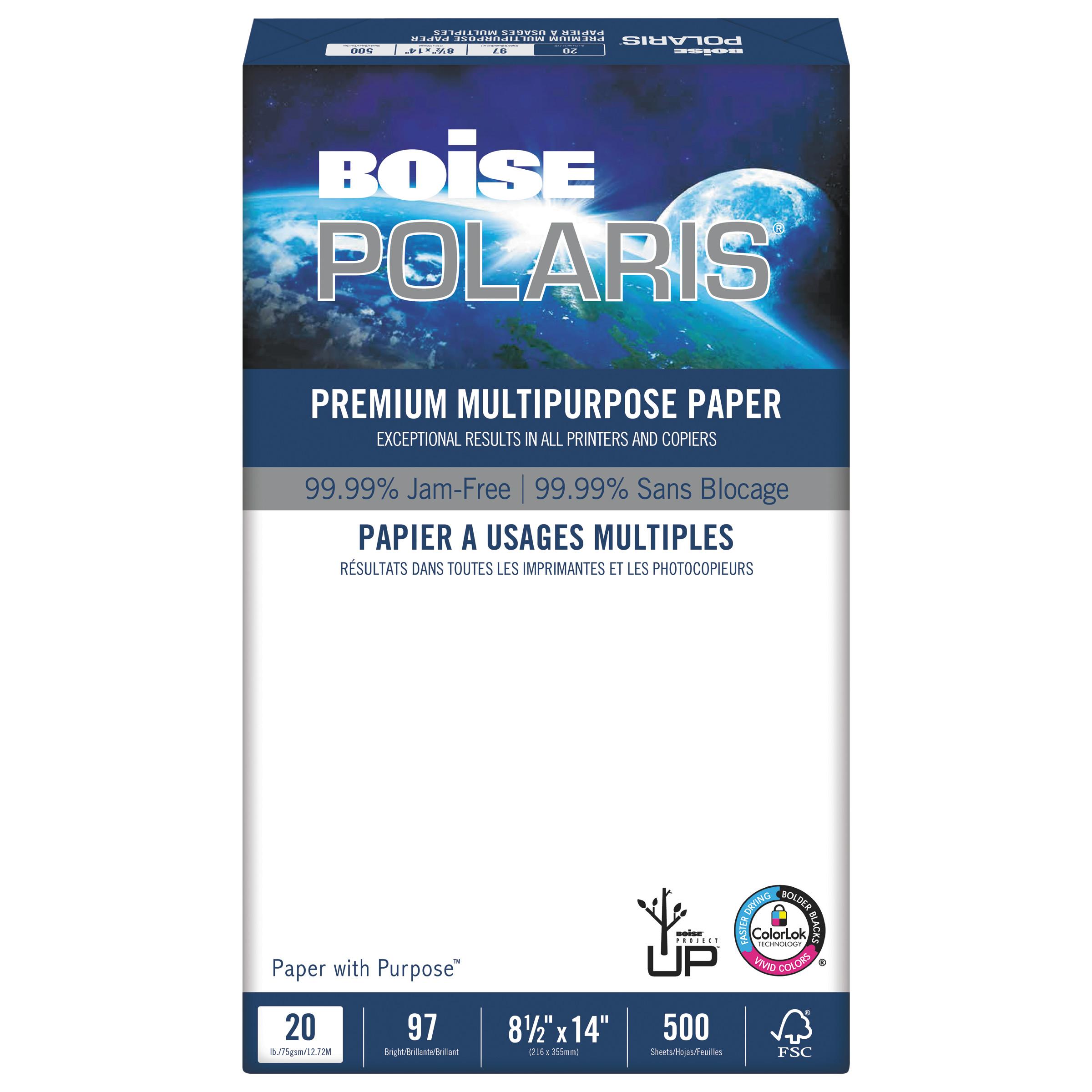 Boise POLARIS Premium Multipurpose Paper, 8 1/2 x 14, 20lb, White, 5000/CT
