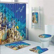 PRTAU Ocean Clear Sea Animal World Corals Tropical Fishes Starfish Egyptian Sea Aqua 5 Piece Bathroom Set Shower Curtain Bath Towel Bath Rug Contour Mat and Toilet Lid Cover