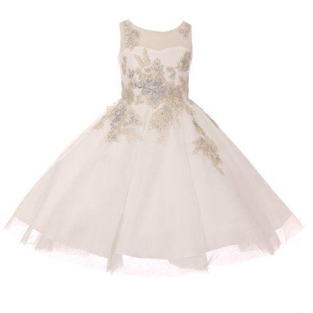 Girls Ivory Lurex Thread Flower Embroidered Junior Bridesmaid Dress ()