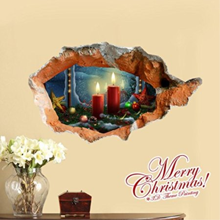 Amazing Wall Decoration,Coper 3D Christmas Tree Presents PAG Sticker Snow  Wall Decals Sticker Home Floor Hole (C)