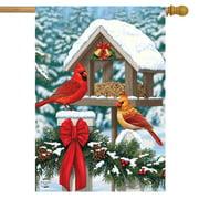 "Cardinals Christmas Feast House Flag Holiday Briarwood Lane 28"" x 40"""