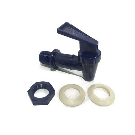 AquaNation BPA Free Replacement Cooler Faucet Water Bottle Jug Reusable Spigot Spout Water Beverage Lever Pour Dispenser Valve Water Crock Water Tap ((2) Twin Pack - Blue)